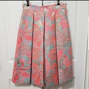 Gianni Bini Metalic Pleated Skirt